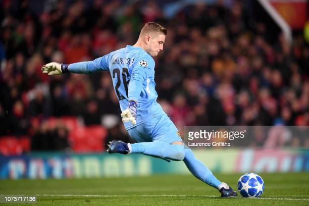 David von Ballmoos of BSC Young Boys takes a goal kick during the UEFA Champions League Group H match between Manchester United and BSC Young Boys at...