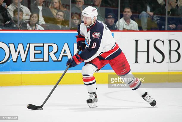 David Vyborny of the Columbus Blue Jackets skates with the puck during their NHL game against the Vancouver Canucks on February 6, 2006 at General...