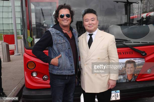 David W Chien of Ride of Fame and Carlos Vives international Singer and Actor unveil Carlos's Ride Of Fame 'IT' bus on September 20 2018 in New York...