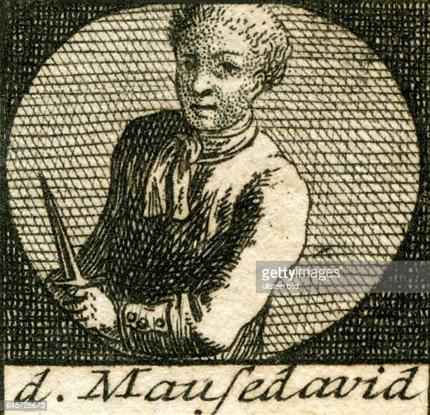 David Wagner , genannt Mause David , 1721 in Leipzig hingerichtet , Verbrecher . Kupferstich aus : J.S. Stoy , Bilder - Akademie für die Jugend ,...