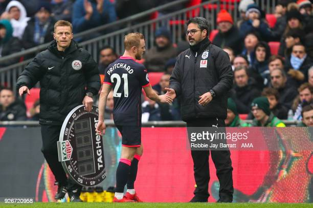 David Wagner head coach / manager of Huddersfield Town acknowledges Alex Pritchard of Huddersfield Town as he comes off with an injury during the...