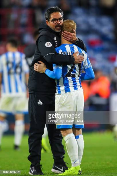 David Wagner head coach / manager of Huddersfield Town and Alex Pritchard of Huddersfield Town reacts at full time during the Premier League match...
