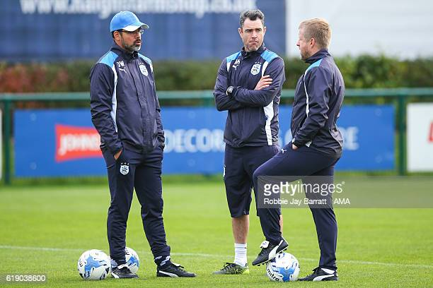 David Wagner head coach / manager of Huddersfield Town and Andrew Hughes first team coach of Huddersfield Town and Christoph Buhler assistant head...