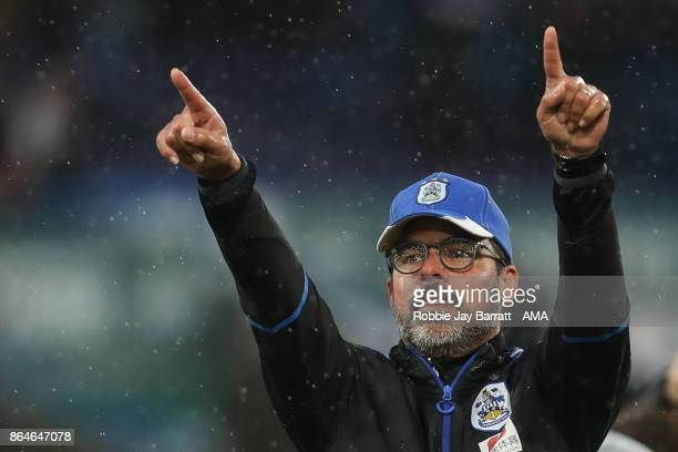 David Wagner head coach / manager of Huddersfield Town celebrates at full time during the Premier League match between Huddersfield Town and...