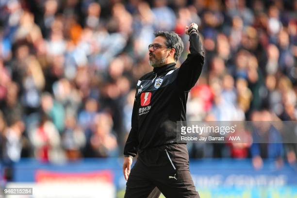 David Wagner head coach / manager of Huddersfield Town celebrates at full time during the Premier League match between Huddersfield Town and Watford...