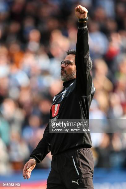 David Wagner head coach / manager of Huddersfield Town celebrates at full times during the Premier League match between Huddersfield Town and Watford...