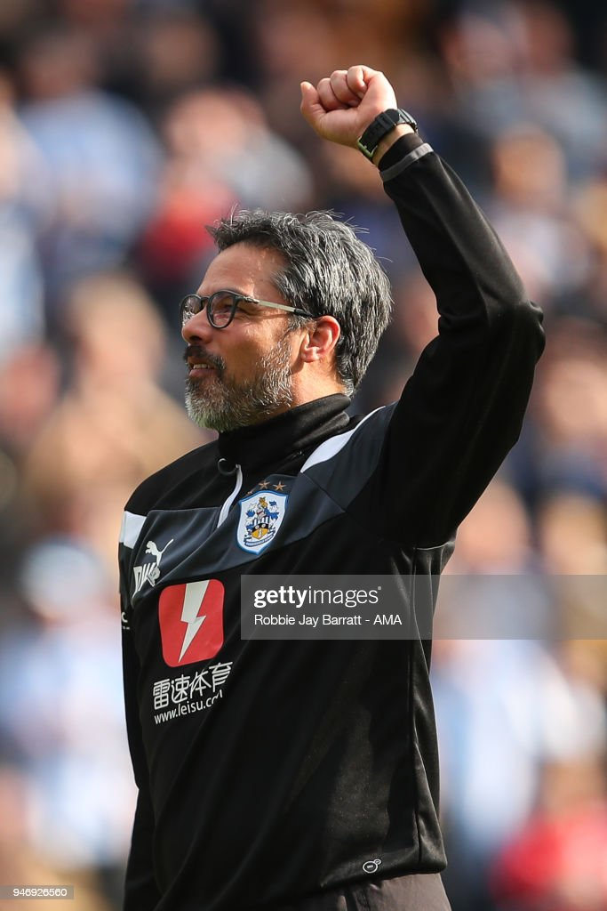 David Wagner head coach / manager of Huddersfield Town celebrates at full time during the Premier League match between Huddersfield Town and Watford at John Smith's Stadium on April 14, 2018 in Huddersfield, England.