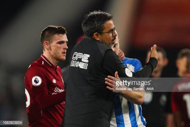 David Wagner head coach / manager of Huddersfield Town consoles a dejected Aaron Mooy of Huddersfield Town at full time during the Premier League...
