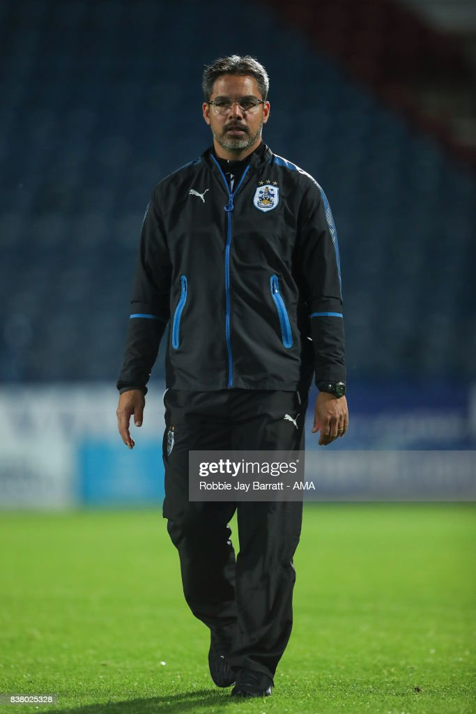 David Wagner head coach / manager of Huddersfield Town during the Carabao Cup Second Round match between Huddersfield Town and Rotherham United at The John Smiths Stadium on August 23, 2017 in Huddersfield, England.