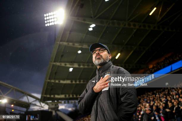David Wagner head coach / manager of Huddersfield Town during the Emirates FA Cup Fifth Round match at The John Smiths Stadium on February 17 2018 in...