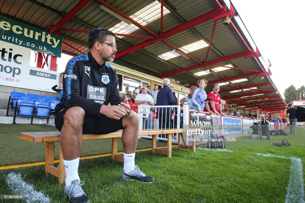 David Wagner head coach / manager of Huddersfield Town during the pre-season friendly match between Accrington Stanley and Huddersfield Town at Wham Stadium on July 12, 2017 in Accrington, England.