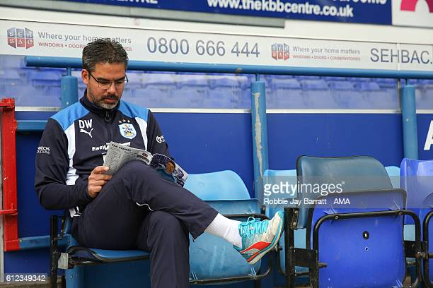 David Wagner head coach / manager of Huddersfield Town in the dugouts pre game during the Sky Bet Championship match between Ipswich Town and...