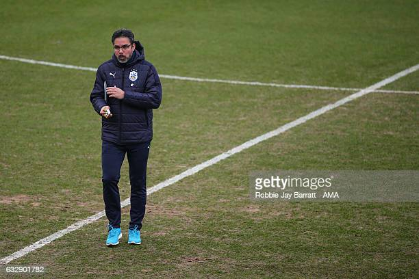 David Wagner head coach / manager of Huddersfield Town inspects the pitch pre kick off during The Emirates FA Cup Fourth Round match between Rochdale...