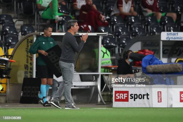 David Wagner, Head coach of BSC Young Boys clebrates after Jordan Siebatcheu Pefok of BSC Young Boys scores their side`s third goal during the UEFA...