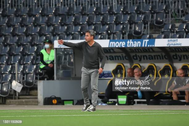 David Wagner, Head coach of BSC Young Boys reacts during the UEFA Champions League Qualification Round 2 second leg match between BSC Young Boys and...