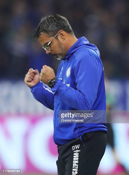 David Wagner, Head Coach of FC Schalke 04 celebrates victory after the Bundesliga match between FC Schalke 04 and 1. FSV Mainz 05 at Veltins-Arena on...