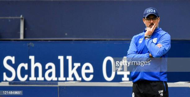 David Wagner, Head Coach of FC Schalke 04 looks on during the Bundesliga match between FC Schalke 04 and FC Augsburg at Veltins-Arena on May 24, 2020...