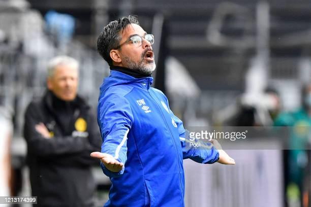 David Wagner, Head Coach of FC Schalke 04 reacts during the Bundesliga match between Borussia Dortmund and FC Schalke 04 at Signal Iduna Park on May...