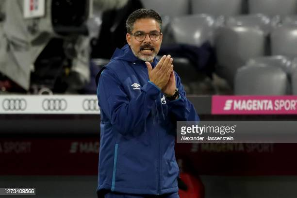 David Wagner, head coach of Schalke reacts during the Bundesliga match between FC Bayern Muenchen and FC Schalke 04 at Allianz Arena on September 18,...