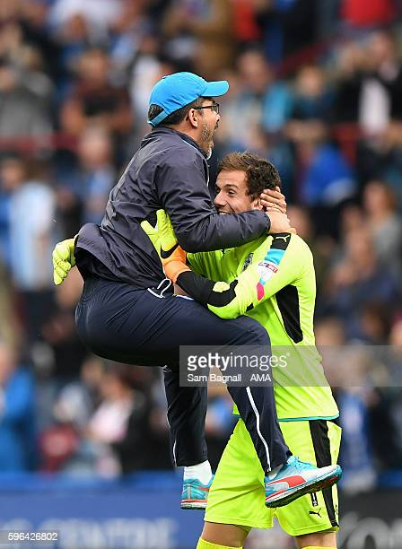 David Wagner manager / head coach of Huddersfield Town celebrates at full time with Danny Ward of Huddersfield Town during the Sky Bet Championship...