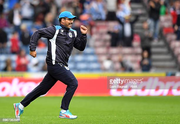 David Wagner manager / head coach of Huddersfield Town celebrates at full time during the Sky Bet Championship match between Huddersfield Town and...
