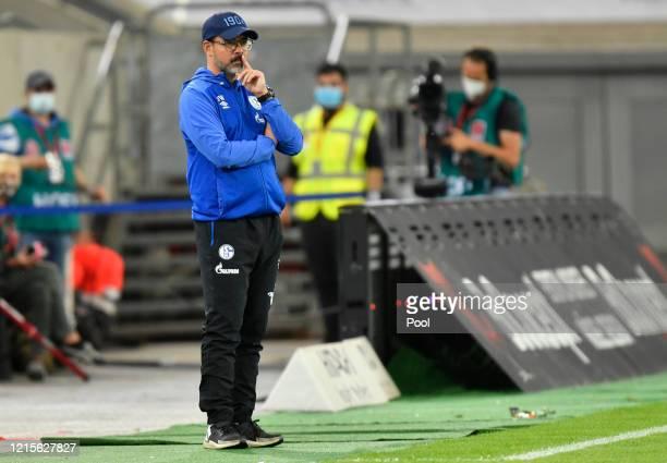 David Wagner Manager of FC Schalke 04 looks on during the Bundesliga match between Fortuna Duesseldorf and FC Schalke 04 at Merkur SpielArena on May...
