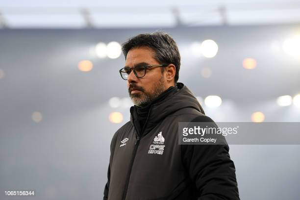 David Wagner Manager of Huddersfield looks on prior to the Premier League match between Wolverhampton Wanderers and Huddersfield Town at Molineux on...