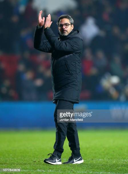 David Wagner Manager of Huddersfield Town acknowledges the fans after the FA Cup Third Round match between Bristol City and Huddersfield Town at...