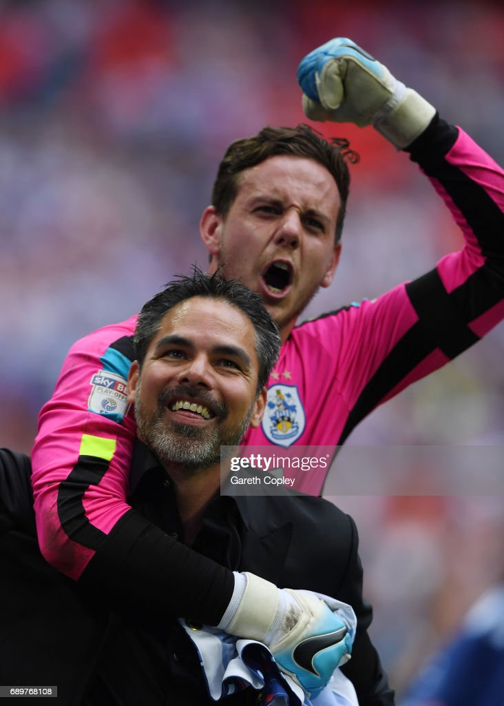 David Wagner, Manager of Huddersfield Town and Danny Ward of Huddersfield Town celebrate promotion to the Premier League after the Sky Bet Championship play off final between Huddersfield and Reading at Wembley Stadium on May 29, 2017 in London, England.