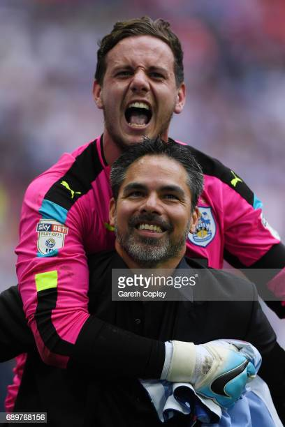 David Wagner Manager of Huddersfield Town and Danny Ward of Huddersfield Town celebrate promotion to the Premier League after the Sky Bet...
