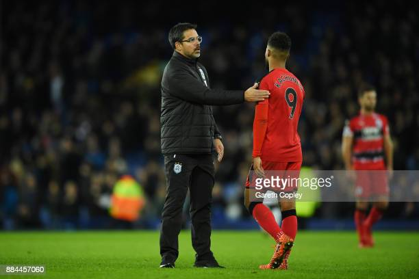 David Wagner Manager of Huddersfield Town and Elias Kachunga of Huddersfield Town embrace after the Premier League match between Everton and...