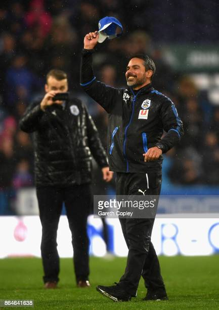 David Wagner Manager of Huddersfield Town celebrates after the Premier League match between Huddersfield Town and Manchester United at John Smith's...