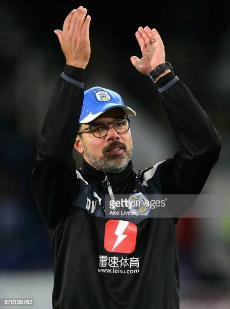 David Wagner Manager of Huddersfield Town celebrates after the Premier League match between Huddersfield Town and West Bromwich Albion at John...