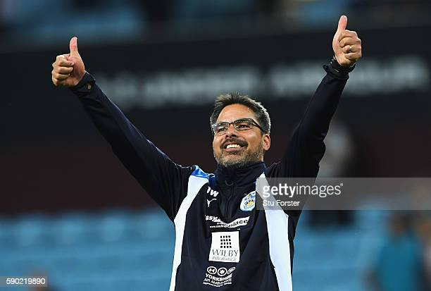 David Wagner Manager of Huddersfield Town celebrates during the Sky Bet Championship match between Aston Villa and Huddersfield Town at Villa Park on...