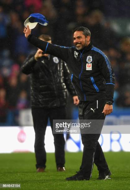 David Wagner Manager of Huddersfield Town celebrates victory after the Premier League match between Huddersfield Town and Manchester United at John...