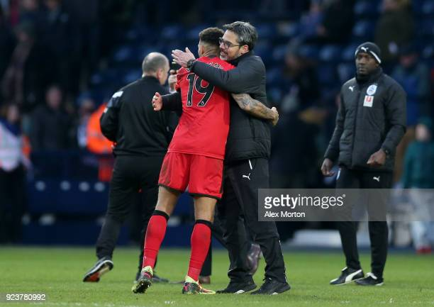David Wagner Manager of Huddersfield Town celebrates with Danny Williams of Huddersfield Town after the Premier League match between West Bromwich...