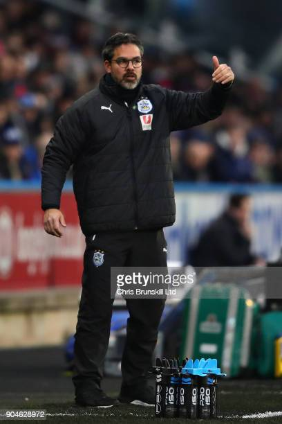 David Wagner Manager of Huddersfield Town gestures from the sideline during the Premier League match between Huddersfield Town and West Ham United at...