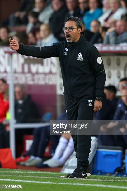 David Wagner manager of Huddersfield Town gives his team instructions during the Premier League match between Burnley FC and Huddersfield Town at...
