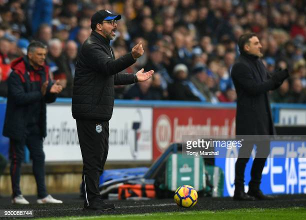 David Wagner Manager of Huddersfield Town gives his team instructions during the Premier League match between Huddersfield Town and Swansea City at...