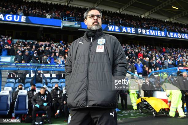 David Wagner Manager of Huddersfield Town looks on ahead of the Premier League match between Huddersfield Town and Crystal Palace at John Smith's...