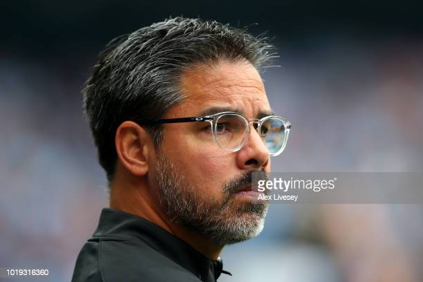 David Wagner manager of Huddersfield Town looks on during the Premier League match between Manchester City and Huddersfield Town at Etihad Stadium on...