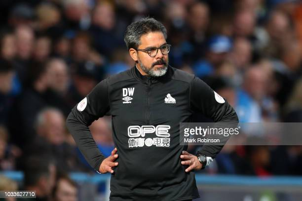David Wagner manager of Huddersfield Town looks on during the Premier League match between Huddersfield Town and Crystal Palace at John Smith's...