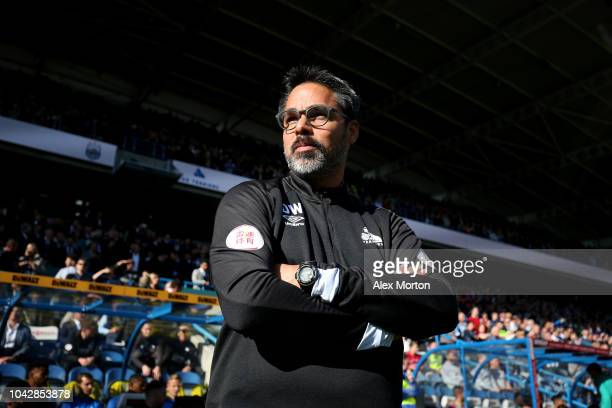 David Wagner manager of Huddersfield Town looks on during the Premier League match between Huddersfield Town and Tottenham Hotspur at John Smith's...