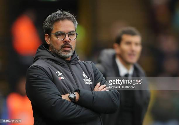 David Wagner manager of Huddersfield Town looks on during the Premier League match between Watford FC and Huddersfield Town at Vicarage Road on...