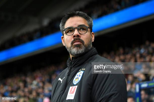 David Wagner Manager of Huddersfield Town looks on prior to The Emirates FA Cup Fourth Round match between Huddersfield Town and Birmingham City at...