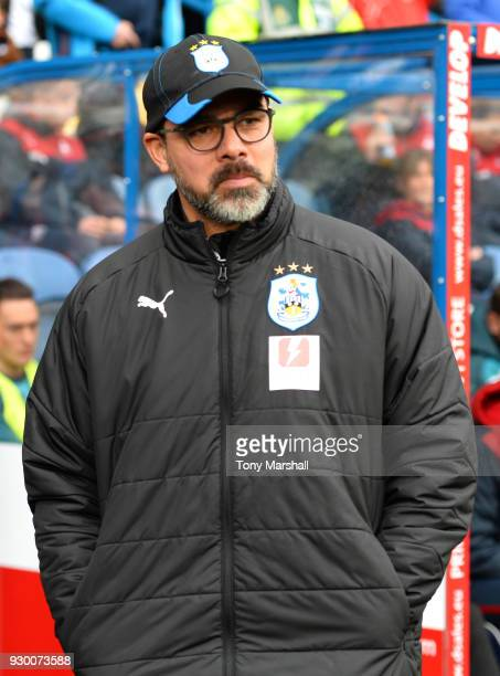 David Wagner Manager of Huddersfield Town looks on prior to the Premier League match between Huddersfield Town and Swansea City at John Smith's...