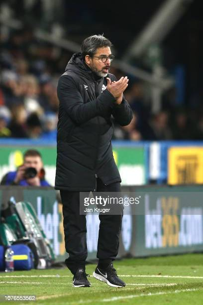 David Wagner Manager of Huddersfield Town reacts during the Premier League match between Huddersfield Town and Burnley FC at John Smith's Stadium on...