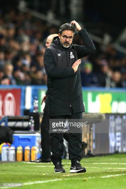 David Wagner, Manager of Huddersfield Town reacts during the Premier League match between Huddersfield Town and Burnley FC at John Smith's Stadium on...