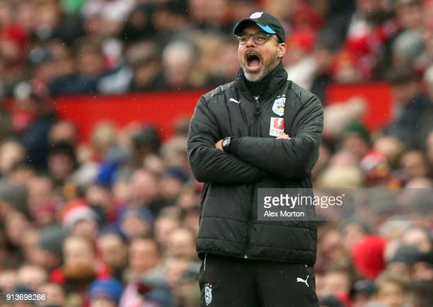 David Wagner Manager of Huddersfield Town reacts during the Premier League match between Manchester United and Huddersfield Town at Old Trafford on...