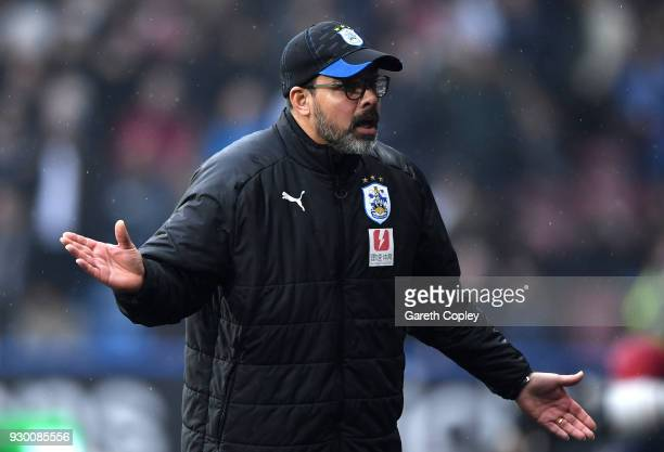 David Wagner Manager of Huddersfield Town reacts during the Premier League match between Huddersfield Town and Swansea City at John Smith's Stadium...